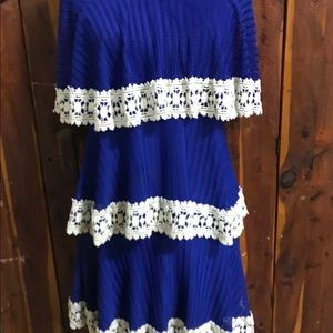 Judith March Royal Blue and Lace Tiered Dress Med